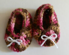 Baby Shoes Booties Handmade Crochet Slipper Newborn Size Pink/Brown White Bows