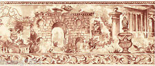 Roman Greek Architectural Building Garden Urn Statue Red Toile Wall paper Border