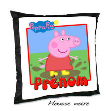 Coussin noir PEPPA PIG V7 avec le prénom de votre choix