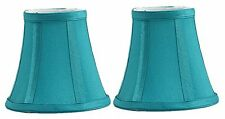 Urbanest Set of 2 Teal Silk Bell Chandelier Lamp Shade, 3-inch by 5-inch by