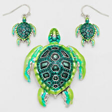 Turtle Pendant Earrings Beach Nautical Sealife SILVER GREEN Fashion Jewelry