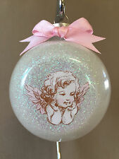"Handmade ""Baby Girl Cherub"" 3"" Glass Ball Christmas Ornament~Made In The USA~NEW"