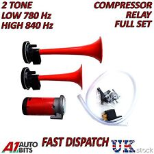 12v Twin Air Compressor Horn/Siren 2 Tone super loud for Car Truck Complete Kit