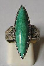 BIJOU ANCIEN BAGUE marquise jaspe vert métal argenté VINTAGE JASPER RING # B118