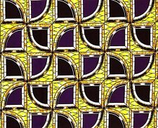 African Fabric 1/2 Yard Cotton PURPLE YELLOW Golden BEIGE Abstract BTHY