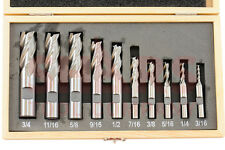 "Shars 10 Pcs 3/16-3/4"" HSS Four 4 Flute HSS Single End Mill Set New"
