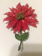 "Vintage Christmas Red Enamel Poinsetta Flower Brooch Pin 3 1/2"" Large Rare"
