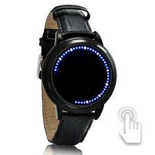 Wasserdicht Herrenuhr Weiß+ Blau LED Touch Screen Armbanduhr Leder Watch Schwarz