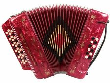 Rossetti 3412 34 Button 3 Switch 12 Bass GCF Sol Accordion - Red with Case!