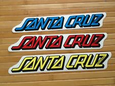 "Nos Santa Cruz Skateboard  Stickers Decals 11""X 2"" Blue Red Yellow You Get All 3"