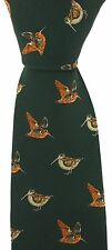 Soprano - Green Silk Tie With standing and flying Woodcock Design game day VP90