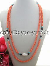 "Q121808 Charmin! 51"" Bead-Nucleated Pearl&Coral&Turquoise Necklace"