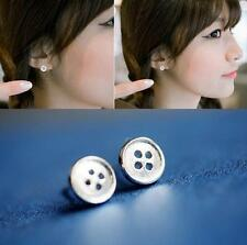 925 Silver Plated New Simple Hollow Buckle All_match Lady Party Stud Earrings