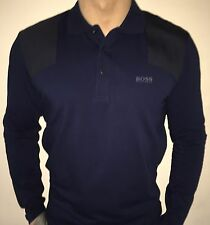 Hugo Boss Long Sleeve Polo Top tshirt BNWT Navy Blue size Large *Green Label*