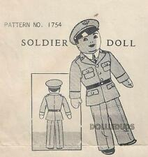 "VINTAGE MAIL ORDER 15"" STUFFED SOLDIER DOLL & UNIFORM PATTERN 1754"