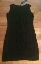 NWT Womens TIANA B. Black Crotchet Overlay Sleeveless Dress Size Large L $98
