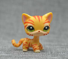 Orange Tiger Cat Kitty Short Hair Littlest Pet Shop Green Eyes Toy LPS #1451