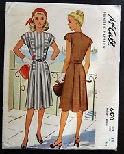 Vintage Original McCall 40's Afternoon Dress Pattern No. 6470
