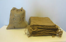 "4 BURLAP BAGS  12"" X 14"" WITH DRAWSTRINGS  SACK GUNNY FEED BAG TOW SACK GIFT"