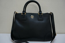 Tory Burch Robinson Double-Zip Tote Black Saffiano Leather $575 Ship Worldwide