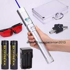 Powerful Blue Laser Pen Laser Pointer Pen Torch Adjsutable Burning Paper+2x18650
