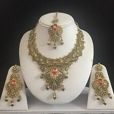 CORAL GOLD INDIAN KUNDAN COSTUME JEWELLERY NECKLACE EARRING CRYSTAL SET BRIDAL N