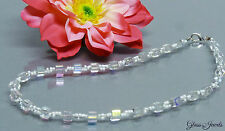 Glass Jewels Silber Kette Halskette Collier Würfelkette in Weiß #A003