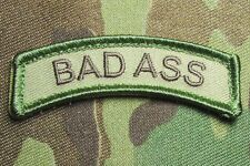 BAD ASS TAB US ARMY USA MILITARY ISAF OAF MULTICAM HOOK & LOOP MORALE PATCH