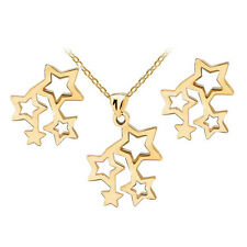 Gold 4 Stars Stainless Steel Stud Earrings Necklace Pendant Jewellery Set S815