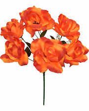 6 OPEN ROSES ~ ORANGE ~ Soft Touch Silk Wedding Flowers Bouquets Bridal Decor