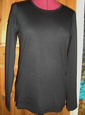 BNWT MAYSAA Ladies Black Cotton Crew Neck Long Sleeved Top Size 10