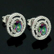Sterling Silver Cubic Zirconia Micro Pave Set Oval Mystic Topaz Earrings