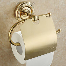 Classic Gold Plated Brass Wall Mount Toilet Paper Holder Roll Tissue Bar Holder