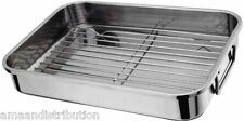 STAINLESS STEEL ROASTING TRAY OVEN PAN DISH BAKING ROASTER GRILL LARGE 37x 28cm
