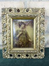 A lovely Small Antique Crystoleum Conrad Kiesel Young Woman with roses C.1890-00