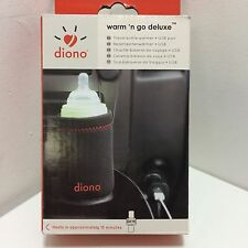 Diono Warm 'n Go Car Travel Baby Bottle Warmer + USB Port, Black - New