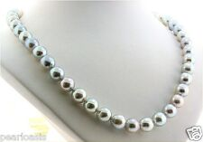 "8MM - 9MM Silver Gray Japanese Akoya Pearl Necklace, 14K Gold Clasp, 24"" NEW"