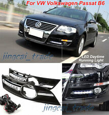 2x White LED Daytime Day Fog Running Light Lamp DRL For VW Volkswagen Passat B6