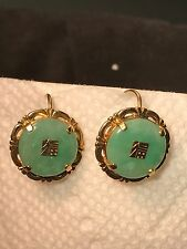 Vintage 9K Yellow Gold Natural Green Jadeite Jade Donut Earrings