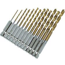 13x HIGH SPEED STEEL DRILL BIT SET HEX SHANK BITS - TITANIUM COATED 1.5- 6.5mm