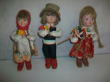 Lot 3 Vintage Paper Mache Dolls made in Poland