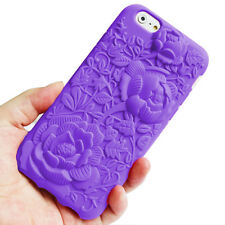Purple 3D Rose Shockproof Silicone Rubber Case Cover for Apple iPhone 6/6s Skin
