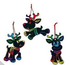 3 Reindeer Scratch Art Ornaments Kit Craft Christmas