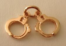 GENUINE SOLID 9ct ROSE GOLD 3D  HANDCUFFS POLICE LAW  CHARM/PENDANT