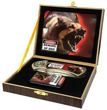 BEWARE OF DOG KNIFE w OIL LIGHTER IN DISPLAY BOX KN482 hunting knives new