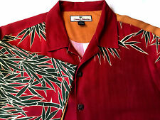 Tommy Bahama Mens Hawaiian Shirt Copyrighted Bamboo Print 100% Silk Size M