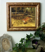 Red FOX Print Antique Style Small Framed Hunt n Landscape Horse Pony Girl