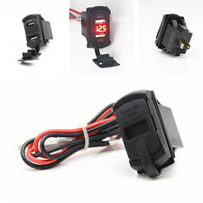 Dual Port USB Charge Power Socket Car Boat Red LED Voltmeter Rocker Push Switch