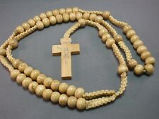 Rosary Necklace Wood Bead Macrame Accent Silver Imprint Crucifix NATURAL FINISH