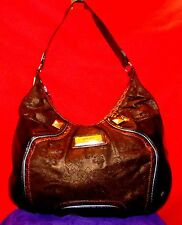DEREON BRONZE/COPPER FLUER DE LIS HOBO SHOULDER BAG W LRG STUDS TEAL VINYL TRIM